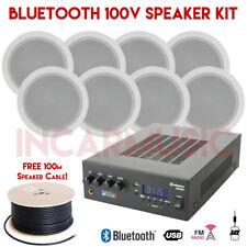 8x Speakers 100V Line Bluetooth USB FM Amplifier Kit For House Cafe Clubs Bar