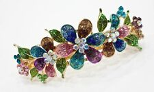 Gold tone rhinestone crystal multi color  flower hair barrette clip 1417