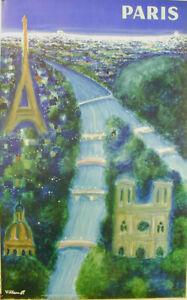 BERNARD VILLEMOT - PARIS -AIR FRANCE - ORIGINAL POSTER -OFFSET LITHOGRAPH 1967