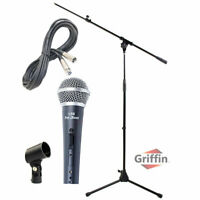 Microphone Boom Arm Stand Holder XLR Cable PACK Cardioid Dynamic Vocal Mic Clip