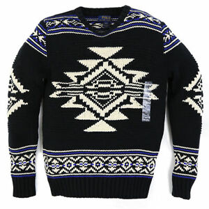 Polo Ralph Lauren Boys Native Pullover Crewneck Ski Sweater - black, blue, white