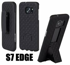 Samsung Galaxy S7 Edge - HARD HOLSTER KICKSTAND CASE COVER with BELT CLIP BLACK