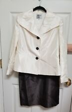 Collections for Le Suit NEW Size 10 Fully Lined 2 PC Skirt Jacket Brown Ivory