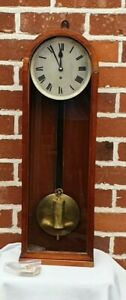 ANTIQUE LENZKIRCH SINGLE WEIGHT VIENNA WALL CLOCK SUPERB SLIM CASE