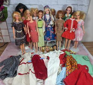Big Vintage Barbie TLC Lot - 9 dolls, outfits, more