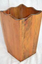 """11.5""""x 7"""" Vintage 2.5 lb. Scalloped Top Wood Trash Can/ Wastebasket/ Cane Holder"""