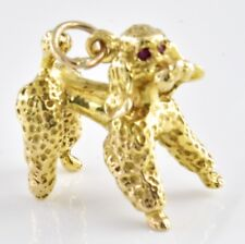 Unusual Heavy Vintage 9ct Gold Charm - Poodle with Ruby Eyes 9.35g HM