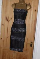 Phase Eight stretch satin lace pencil wiggle bodycon evening party dress 12 14