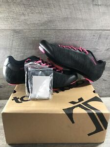 Tommaso Pista 100 + SPD Spin Cycling Shoes Pink / Black SPD Cleats.  Size 10