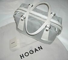 Auth HOGAN by TOD'S Made in Italy handbag borsa donna pelle e tessuto grigio