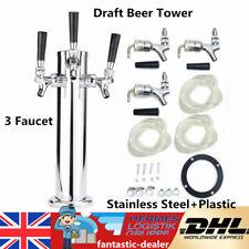 More details for 3 tap faucet stainless steel draft beer dispenser homebrew tower for kegerator