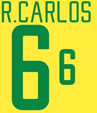 Brazil Roberto Carlos Nameset 02 Shirt Soccer Number Letter Heat Print Football