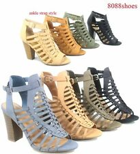 b6256dfb99f2 Women s Chunky Heel Strappy Ankle Strap Buckle Sandal Shoes Size 5.5 - 11  NEW