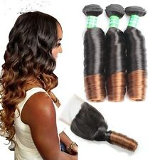 8A 300g/3bundles virgin brazillian aunty funmi spring curls human hair & closure