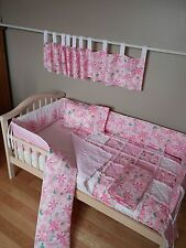 Baby Pink Floral Tractor John Deere Fabric Crib Bedding SET Rag Quilt Valance