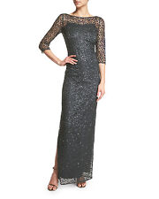 74de473091 NWOT charcoal Kay Unger Embellished Illusion Neck Lace Gown size 6