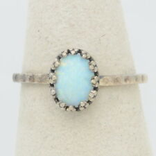 Handmade Vintage Darkened 925 Silver Sizable Ring 6mm*8mm White Fire Opal