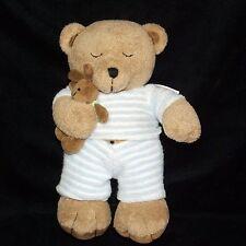 """Small Wonders BROWN BEAR 9"""" with Bunny Rabbit Blue White Stripe Pajamas Plush"""