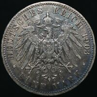 1903 A | German States Prussia Wilhelm II 5 Mark | Silver | Coins | KM Coins