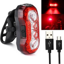 4 LEDs Bike Bicycle Cycling Tail Light Rear USB Rechargeable Red Warning Plastic