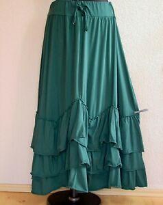 Moonshine Fashion° Lagenlook Volant Rock A-Linie Baumwolle ~ Smaragd Grün~ 2 / 3