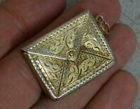 1906 English Solid Silver Stamp Envelope Case Holder Pendant with Gilt Finish