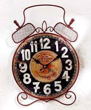 Rustic Wooden Alarm Shape Vintage Wall Clock Retro Scrolled Metal Alarm Clock