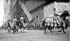 1910s NYC Ringling Bros Circus Parade Performers on Horses Glass Photo Negative