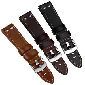 Geckota® Aldergrove Vintage Aviation Leather Riveted Watch Strap 20mm & 22mm