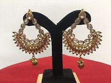 Bollywood Fashion Ethnic Gold White Jewelry Indian Diamond Earrings Set