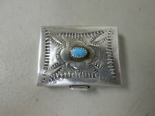 ANTIQUE OR VINTAGE STAMPED STERLING SILVER & TURQUOISE NAVAJO MADE PILL BOX