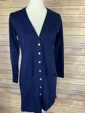 Chadwicks Womens Small Navy Cardigan Tunic Length Grandpa Cardi Long Sweater