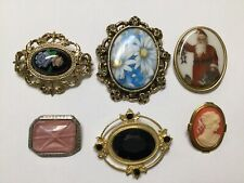 VINTAGE VICTORIAN CAMEO STYLE PIN BROOCH LOT OF 6 COSTUME JEWELRY GLASS 1928