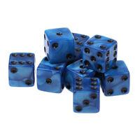 10x 16mm D6 Dice Six Sided Dies Cube Acrylic for KTV Club TRPG MTG Toy Blue