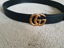 New Gucci Black Belt With Signature Double G Brass Buckle - adjustable unisex
