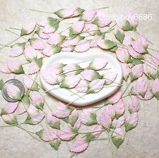 50Mini Leaves Pink 2Tone Leaf Scrapbook Craft Mulberry Paper Floral Card Wedding
