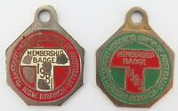 2 x NSW TRANSPORT WORKERS UNION OF AUSTRALIA CLUB BADGES. YEARS 1981 & 1983