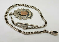 BEAUTIFUL ANTIQUE 1900'S SOLID SILVER POCKET WATCH CHAIN & FOB 35.5 G.