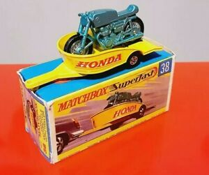 Matchbox Superfast N°38 Honda Motocycle With Trailer MADE IN ENGLAND