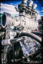 12x18 in. Garage Poster, Blown Cadillac Flathead Engine Vintage Art Man Cave