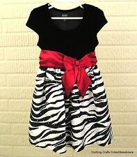 Girls Zebra Print Dress Sz 4/5 Black Velour Sparkle Holiday Editions EUC