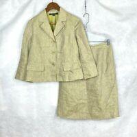 Kasper Black Label Womens Petite Beige Linen Skirt Suit sz 8P