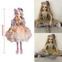 60cm Female Girl 60cm 1/3 Puppen BJD Doll Eyes Face Make Up + Dress Wig Shoes