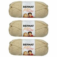 Bernat Softee Chunky Yarn, 100G/3.5OZ Super Bulky Yarn, 3 Pack, Linen