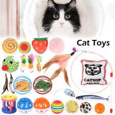 22× New Bulk Buy Cat Kitten Toys Pet Chew Rod Fur Mice Bells Balls Teaser Catnip