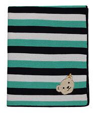 Strickdecke Babydecke Decke Kuscheldecke Steiff Bär grün blau 80 x 100 cm
