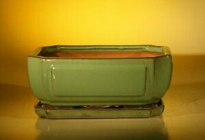 Green Ceramic Bonsai Pot - Rectangle Professional Series With Attached Humidi...