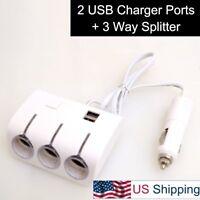 Car Auto 1 to 3 Cigarette Lighter Charger Plug Split 5V 2 USB for Dash Cam Phone