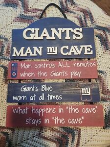"""New York Giants Man Cave Design Wood Sign - 15"""" X 11""""  [NEW] NFL Wall"""