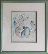 CHARNOTET 1930-1978.Bacchus et amour.Aquarelle.20x16.SBD.1955.Cadre.